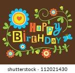cute happy birthday card.... | Shutterstock .eps vector #112021430