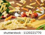 pasta background. several types ... | Shutterstock . vector #1120221770