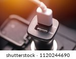 charger plug phone on car | Shutterstock . vector #1120244690