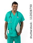Male Indian doctor wearing a Green Scrubs & holding a clip board. Isolated on white background. - stock photo