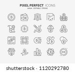 thin line icons set of crypto... | Shutterstock .eps vector #1120292780