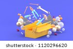 toolbox amidst colorful balls... | Shutterstock . vector #1120296620