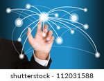 hand pushing social network... | Shutterstock . vector #112031588