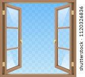 brown classic wooden open... | Shutterstock .eps vector #1120326836