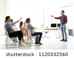 male business trainer giving... | Shutterstock . vector #1120332560