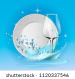 a clean plate and wine glass in ... | Shutterstock .eps vector #1120337546