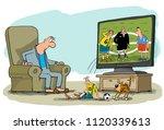 a man watches football on tv.... | Shutterstock . vector #1120339613