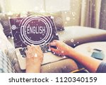 english with person using a...   Shutterstock . vector #1120340159