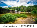 wide angle down by the river... | Shutterstock . vector #1120347419