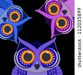 owls birds on a scrap card.... | Shutterstock .eps vector #112035899