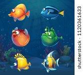 set of cartoon funny fish in... | Shutterstock .eps vector #1120361633