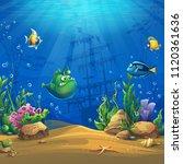 cartoon fish in underwater... | Shutterstock .eps vector #1120361636