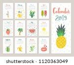 calendar 2019. cute monthly... | Shutterstock .eps vector #1120363049