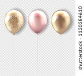 set pink and golden balloon... | Shutterstock .eps vector #1120384610