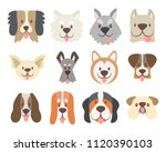 dog faces collection. cute... | Shutterstock .eps vector #1120390103