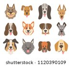dog faces collection. cute... | Shutterstock .eps vector #1120390109