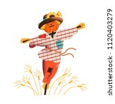 smiling straw scarecrow dressed ... | Shutterstock .eps vector #1120403279