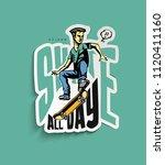 t shirt design cool hipster... | Shutterstock .eps vector #1120411160