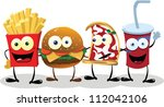 a group of friendly fast food... | Shutterstock .eps vector #112042106