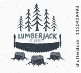 lumberjack at work with saw... | Shutterstock . vector #1120429493