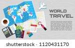 world tour banner. passport for ... | Shutterstock .eps vector #1120431170