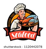 seafood logo or label. happy... | Shutterstock .eps vector #1120442078