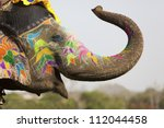 decorated elephant at the... | Shutterstock . vector #112044458