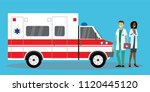 two paramedics workers near... | Shutterstock .eps vector #1120445120