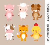 vector set with cute animals in ... | Shutterstock .eps vector #1120450508