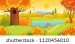 Stock vector autumn landscape cute hare running through the autumn forest vector illustration with an animal 1120456010