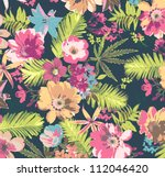 tropical flower pattern on blue ... | Shutterstock . vector #112046420