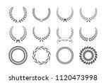 set of gray laurel wreaths... | Shutterstock .eps vector #1120473998