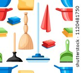seamless pattern. cleaning set...   Shutterstock .eps vector #1120481750