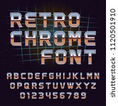 vector retro 80's chrome font | Shutterstock .eps vector #1120501910