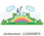 mother and son on a bicycle  ... | Shutterstock .eps vector #1120504874