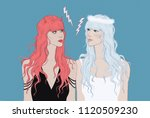 charming angel looks at a... | Shutterstock . vector #1120509230