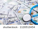 stethoscope on dollar banknotes ...   Shutterstock . vector #1120513454