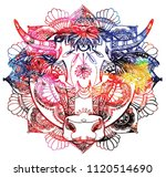 the cow's head. a cow with big... | Shutterstock .eps vector #1120514690