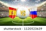 spain vs russia. soccer concept.... | Shutterstock . vector #1120523639