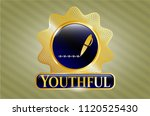 gold shiny badge with writer... | Shutterstock .eps vector #1120525430