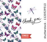 embroidery flowers and insects... | Shutterstock .eps vector #1120529513