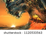 beautiful ocean wave  sea water ... | Shutterstock . vector #1120533563