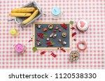 sweets  cupcakes   lemonade  ... | Shutterstock . vector #1120538330