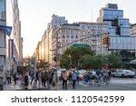 crowds of people crossing...   Shutterstock . vector #1120542599