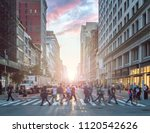 crowds of people crossing an... | Shutterstock . vector #1120542626
