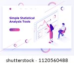 people interacting with charts... | Shutterstock .eps vector #1120560488