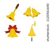 bell icon set. flat set of bell ...