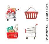 shop basket icon set. cartoon... | Shutterstock . vector #1120564196