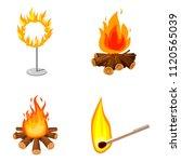 fire icon set. cartoon set of... | Shutterstock . vector #1120565039