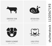 set of 4 editable zoology icons.... | Shutterstock .eps vector #1120567193